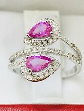 18k Solid white gold Natural Diamond & Pear shape Pink Sapphire Ring 1.20 ct