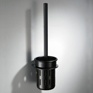 Black Space Aluminum Wall Mounted Toilet Brush Holder Set Home Bathroom Cleaning