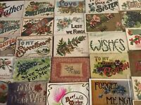 Big Estate Lot of 32 Family Greetings,Large Letter Words Antique~Postcards--s997