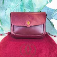 $650 CARTIER Maroon Bordeaux Leather Crossbody Shoulder Bag Flap Snap Gold SALE!