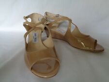 NEW JIMMY CHOO Ladies VIDA Nude Patent Leather Wedge Shoes UK 5 EU 38 RRP £395