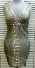 VENUS DRESS Large Silver V Neck Sexy STRETCHY Sleeveless Women's  NWT