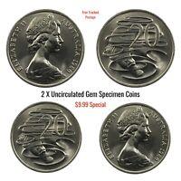 1980 Australian 20c - 2 x UNC High Grade  Gem Coins Special (Duckbill Platypus)