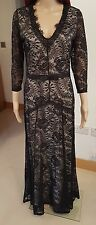 BNWT WOMENS Black LACE 3/4 sleeves long EVENING wedding guest dress size M/10