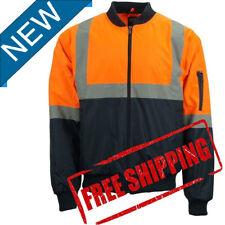 Hi-Vis Mens Work Wear Shower Water Proof Bomber Quilted Warm Jacket PPE