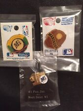 Set~Lot~3~MLB Seattle Mariners Collector Pins~# 1 Fan~Baseball Glove~New on Card