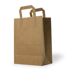 More details for paper carrier bags white brown sos kraft takeaway food lunch party with handles