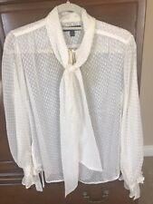 EUC Banana Republic Sheer Dotted Bow tie Shirt Blouse Size XS X Small $89
