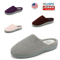 Women's Slip On Memory Foam Slippers Faux Fur Soft Indoor House Slippers Shoes