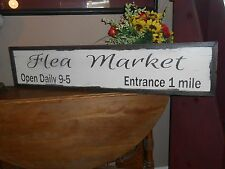 "FLEA MARKET Vintage Antique Style primitive wood sign 9"" X 40.5""w/raised border"