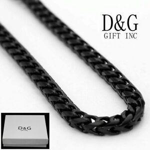 "DG Men's 20"" Franco Chain Necklace 5mm Black Stainless Steel Unisex~Box"