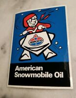 Vintage Amoco American Oil Snowmobile Oil Sticker Decal --New Old Stock