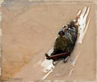 EDWIN ARTHUR NORBURY (1849-1918) Watercolour Painting SLEDGING IN THE MOUNTAINS