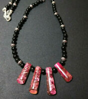 Necklace Women's Natural Stone Pink Jasper and Obsidian Beads Tribal  Boho Chic