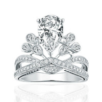 Women's Charm Party Jewelry 925 Sterling Silver Zircon Crown Band Ring Size 7