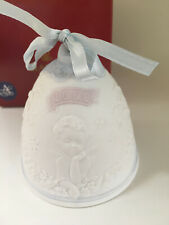 Lladro Christmas Bell 2000 - Angels - w/ Box & Ribbon, blue and white