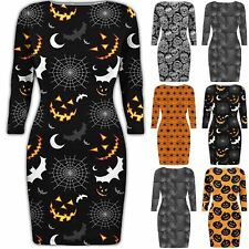 Womens Ladies Halloween Long Sleeves Round Neck Bodycon Spooky Scary Dress