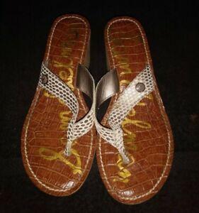 Sam Edelman Sz 6.5M Romy Snake Print Cork Wedge Thong Sandals Flip Flops