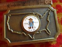 Vintage 1977 70s COLORADO V.F.W. GOLD MINER ENAMELED BRASS BELT BUCKLE