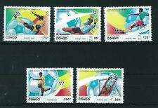 Congo Republic 1993 Football World Cup full set of stamps. Used. Sg 1343-1347.