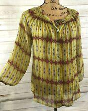 Sundance Blouse Shirt 3/4 Sleeve Boho Button Front Yellow Small Silk Sheer