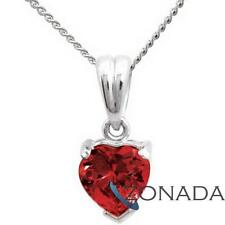 New Love Heart Ruby 9ct 9k Solid White Gold Pendant W64665/CR