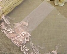 "9""~1 Yard~Venise Embroidered Lace Triming Tulle Flower Wedding Doll Peach"