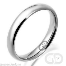 3mm Classic Traditional Wedding Band 316L Stainless Steel Ring Sizes 4.5 to 12.5