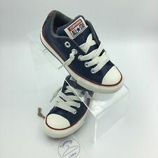 Converse All Star Kids Juniors Navy Blue Leather Low Top Sneakers Shoes Sz 10.5