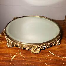 "Antique Footed Floral Ornate Gold Gilt Art Nouveau Plateau Vanity Mirror 10"""