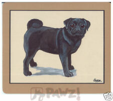 BLACK PUG Fur Children Computer MOUSE PAD Mousepad
