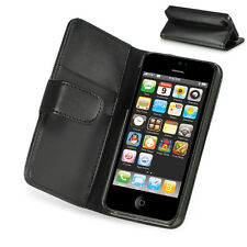 For Apple iPhone 5 5S SE Leather Premium Wallet Case Pouch Flip Cover Black