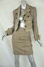 BAZAR DE CHRISTIAN LACROIX Womens Brown Herringbone Blazer Skirt Suit Outfit 36