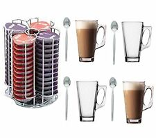 Tassimo Coffee Pod Holder. 56 Capsules With 4 Free Latte Glasses & Spoons!