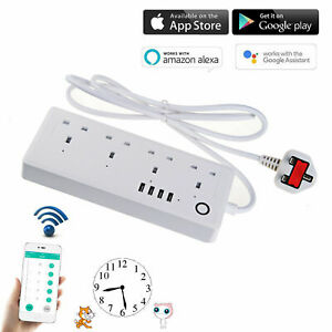 WIFI Smart Socket Extension Lead With 4 Way 4 USB Port Surge Protected Lead NEW