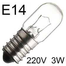 3x Glühlampe Glühbirne Lampe Röhrenlampe Ersatz Spezial E14 220V 3W klar 274553
