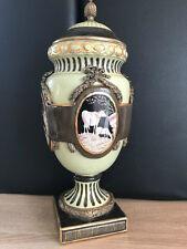Bronce con porcelana XL prunkgefäß urna tapa jarrón vintage 48 cm 4,1 kg