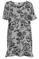 Ladies Plus Size V Neck Floral Print Women's Oversized Top Tunic Short Dress