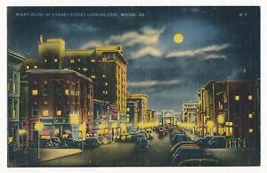 Night View of Cherry Street, Macon, Georgia ca.1940's