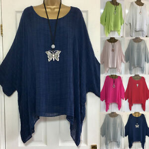 UK Womens Summer T Shirt Kaftan Baggy Blouse Ladies Casual Tunic Tops Size 8-26