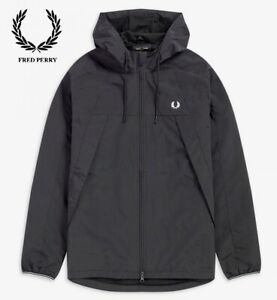 New FRED PERRY Panelled Zip Through Hooded Sports Jacket - Black RRP £160- Small
