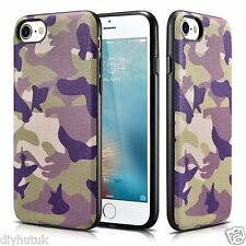 Xoomz iPhone design Camouflage in Pelle 7 SLIM PLACCA DI METALLO COVER CUSTODIA TPU (E234)