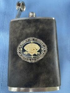 Vintage Stainless Steel 8 oz Flask Leather Wrapped Skull Pirate Emblem