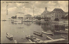 Switzerland 1921 Neuchatel, Port, Boats Postcard #C21961