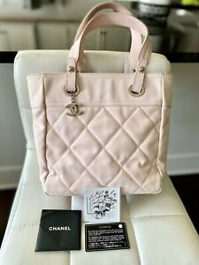 Authentic Chanel Paris Biarritz PM Pink Canvas Tote