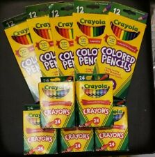 Lot of 10: 5 boxes of Crayola Crayons -24 per/ 5 boxes of colored pencils 12 per