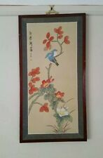 Asian Watercolor painting flowers blue birds
