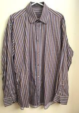 Bugatchi Uomo Mens Long Sleeve Casual Shirt, Brownw/Blue&Yellow Stripes, Size XL