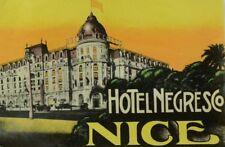 1940's-50's Hotel Negresco Nice, France Luggage Label Original E18