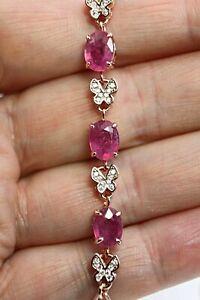 Bracelet Pink Ruby Genuine Gem Sterling Silver Rose Gold 6 3/4 to 8 3/4 Inch